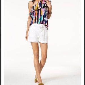 TRINA TURK x INC white linen blend belted shorts